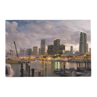 Miami financial skyline at dusk placemat
