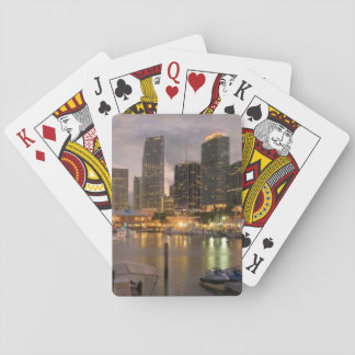 Miami financial skyline at dusk playing cards
