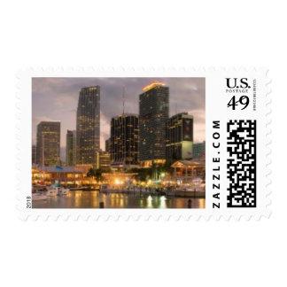 Miami financial skyline at dusk postage stamp
