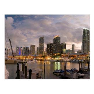 Miami financial skyline at dusk postcard