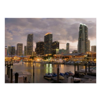 Miami financial skyline at dusk poster