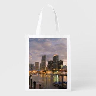 Miami financial skyline at dusk reusable grocery bag