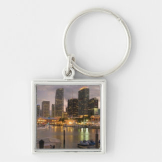 Miami financial skyline at dusk Silver-Colored square keychain