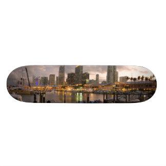 Miami financial skyline at dusk skateboards