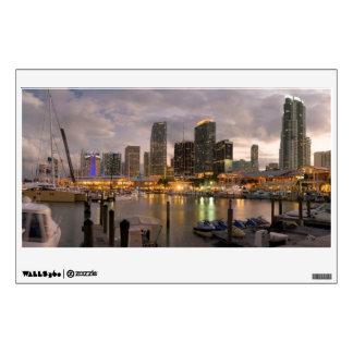 Miami financial skyline at dusk wall sticker