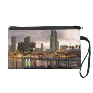 Miami financial skyline at dusk wristlet purse