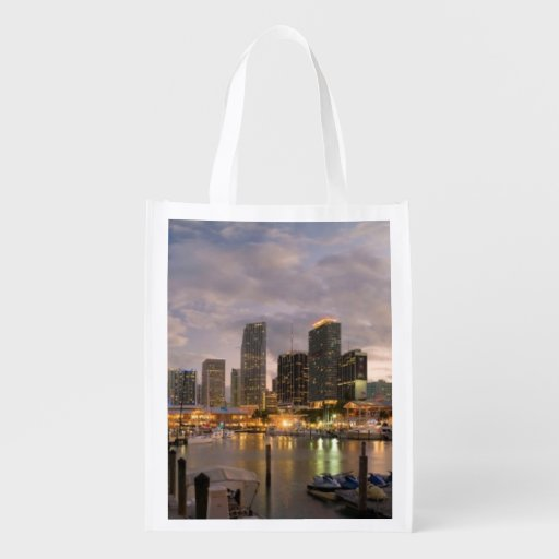Miami financial skyline at dusk grocery bag