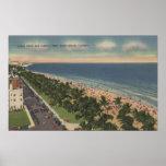 Miami, FL - impulsión del océano y parque de Lummu Posters