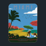 "Miami, FL Magnet<br><div class=""desc"">Anderson Design Group is an award-winning illustration and design firm in Nashville,  Tennessee. Founder Joel Anderson directs a team of talented artists to create original poster art that looks like classic vintage advertising prints from the 1920s to the 1960s.</div>"