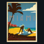"""Miami, FL Postcard<br><div class=""""desc"""">Anderson Design Group is an award-winning illustration and design firm in Nashville,  Tennessee. Founder Joel Anderson directs a team of talented artists to create original poster art that looks like classic vintage advertising prints from the 1920s to the 1960s.</div>"""