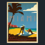 "Miami, FL Postcard<br><div class=""desc"">Anderson Design Group is an award-winning illustration and design firm in Nashville,  Tennessee. Founder Joel Anderson directs a team of talented artists to create original poster art that looks like classic vintage advertising prints from the 1920s to the 1960s.</div>"