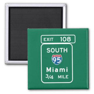Miami, FL Road Sign 2 Inch Square Magnet