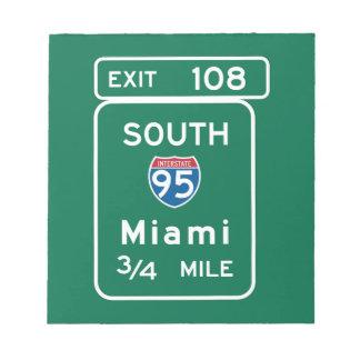 Miami, FL Road Sign Notepad