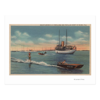 Miami, FL - Water Skiing Scene, Wooden Boat Post Cards