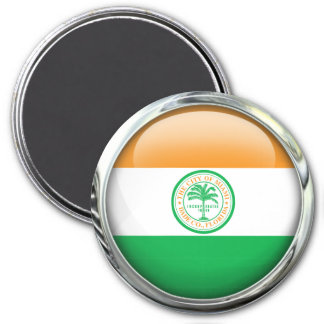Miami Flag Glass Ball 3 Inch Round Magnet