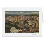 Miami, Florida - Aerial View of Downtown Card