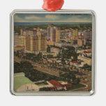 Miami, Florida - Aerial View of Downtown Christmas Tree Ornaments
