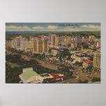 Miami, Florida - Aerial View of Downtown Print