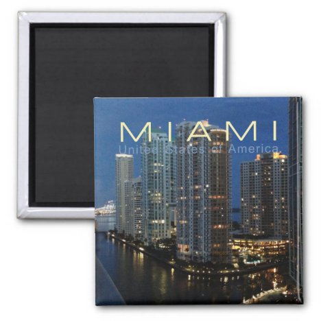 Miami Florida at Night Travel Photo Fridge Magnet