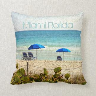 Miami Florida Beach Umbrellas Throw Pillows