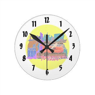 miami florida city invert watercolour  travel.png round clock