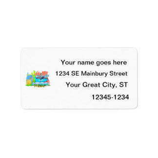 miami florida city watercolour graphic design trav address label