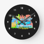 miami florida city watercolour graphic design trav round wall clock