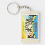 Miami Florida FL Old Vintage Travel Souvenir Double-Sided Rectangular Acrylic Keychain