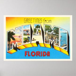 Miami Florida FL Old Vintage Travel Souvenir Poster