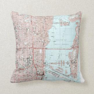 Miami Florida Map (1994) Throw Pillow