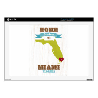 """Miami, Florida Map – Home Is Where The Heart Is 17"""" Laptop Skins"""