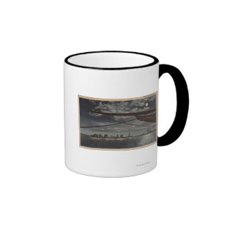 Miami, Florida - Moonlit View of City Over Water Coffee Mug