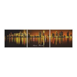 Miami Florida Night Skyline Reflection on Ocean Canvas Print