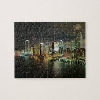 Miami Florida Night Time Skyline Jigsaw Puzzle