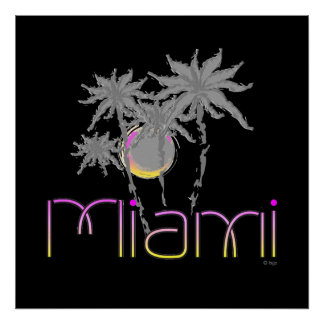 Miami, Florida Palms Modern Cool Poster