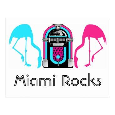 Beach Themed Miami Florida Rocks Flamingo Retro Jukebox Postcard