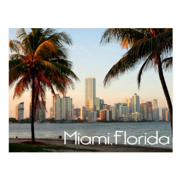 USA Themed Miami Florida Skyline and Harbor At Night- USA Postcard