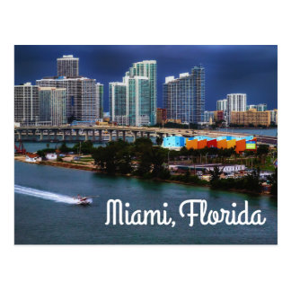 Miami Florida Skyline and Harbor At Night- USA Postcard