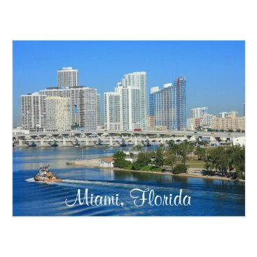 merrydestinations Miami Florida Skyline and Harbor Postcard