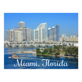 Miami Florida Skyline and Harbor - USA Postcard