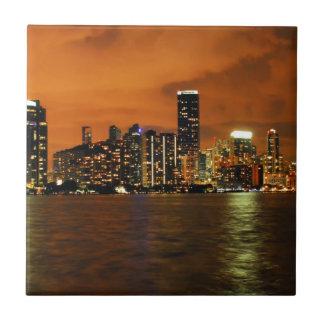 Miami, Florida skyline at night Ceramic Tile