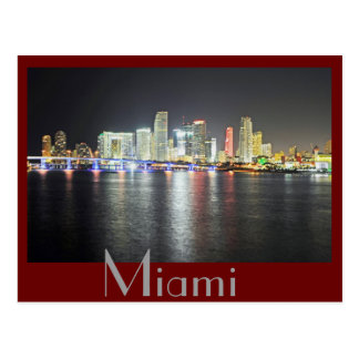 Miami, Florida skyline at night Postcard