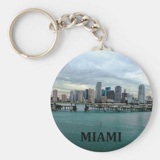 Miami Florida Skyline Basic Round Button Keychain