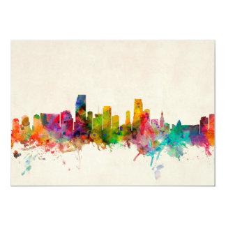 Miami Florida Skyline Cityscape 13 Cm X 18 Cm Invitation Card