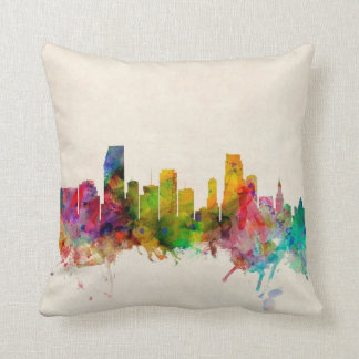 Miami Florida Skyline Cityscape Pillows
