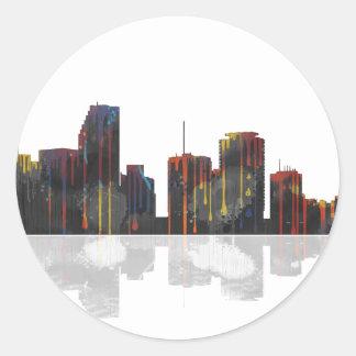 Miami Florida Skyline Classic Round Sticker