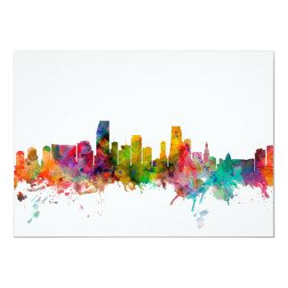 Miami Florida Skyline 13 Cm X 18 Cm Invitation Card