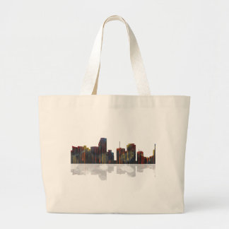 Miami Florida Skyline Large Tote Bag