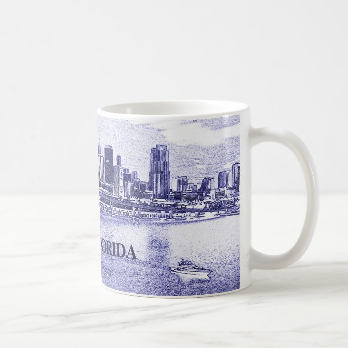 Miami, Florida Skyline Pencil Drawing Coffee Mug