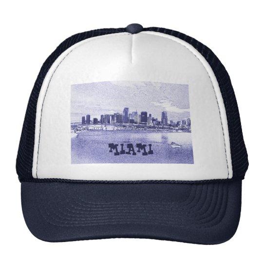 Miami, Florida Skyline Pencil Drawing Trucker Hat
